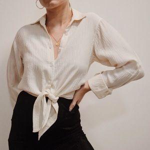 Vintage White Tie Up Blouse